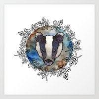 badger Art Prints featuring Badger by amyrose