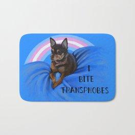 I Bite Transphobes-blue Bath Mat
