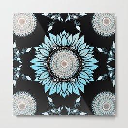 Blue Lotus Flower Namaste Mandala Metal Print