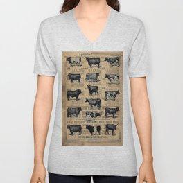 Vintage 1896 Cows Study on Antique Lancaster County Almanac Unisex V-Neck