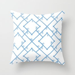 Bamboo Chinoiserie Lattice in White + Light Blue Throw Pillow