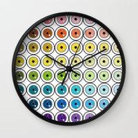 pantone Wall Clocks featuring Pantone Eyes  by Gabriel J Galvan