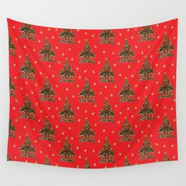 Red Christmas Tree Wall Tapestry