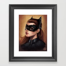 Cute Catwoman Painting  Framed Art Print