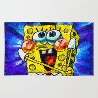 spongebob Area & Throw Rugs featuring A Giddy Spongebob by Joe Misrasi