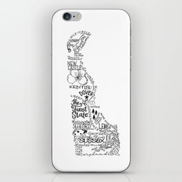 Delaware - Hand Lettered Map iPhone Skin