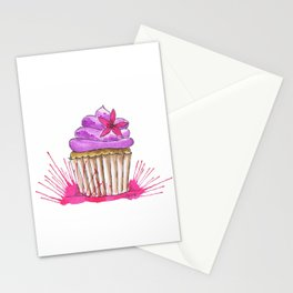 Cupcake with pink flower Stationery Cards