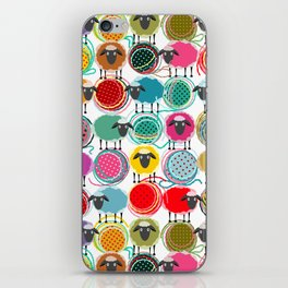 Bright Sheep and Yarn Pattern iPhone Skin