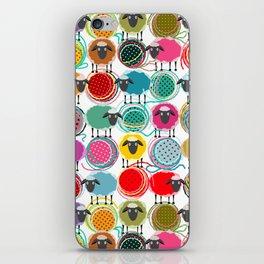 Bright Sheep and Yarn Pattern iPhone Skin