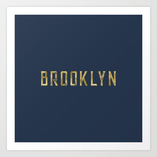 Brooklyn in Gold on Navy Art Print