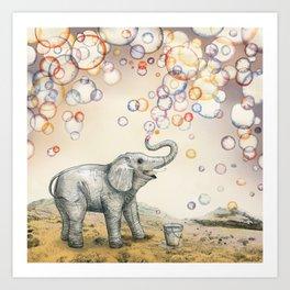 Elephant Bubble Dream Art Print