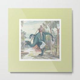 Castiel Pinup on a Dinosaur Metal Print