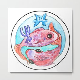 Whimsical Astrology Sun Sign Pisces the Fish Metal Print