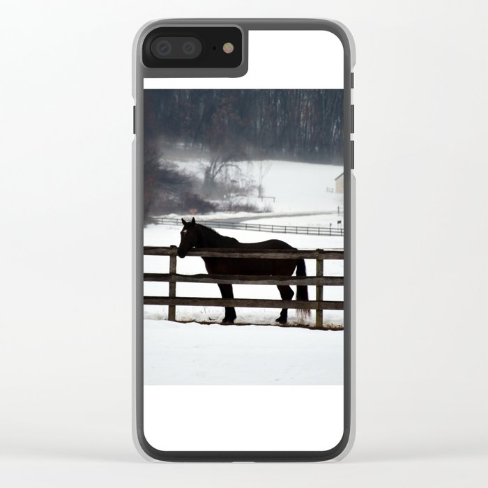 Horse in the Winter Fog Clear iPhone Case