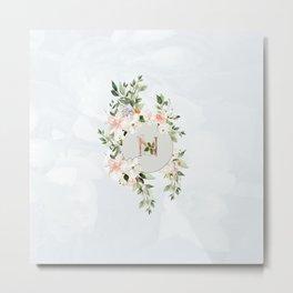 Floral with Monogram Plate in Pale Blue Metal Print