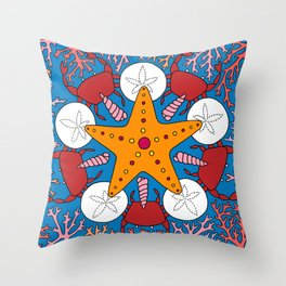 Starfish and Coral Throw Pillow