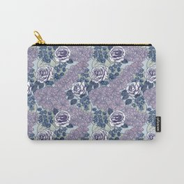 Chevron Floral Dark Carry-All Pouch