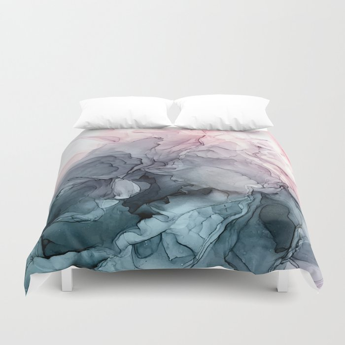 Blush and Payne's Grey Flowing Abstract Painting Duvet Cover