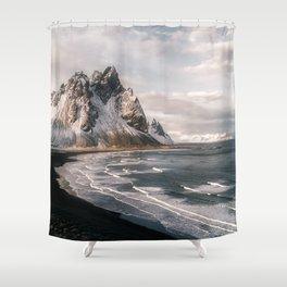 Stokksnes Icelandic Mountain Beach Sunset - Landscape Photography Shower Curtain