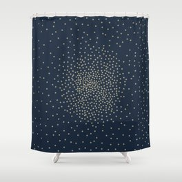 Dots Illusion - Gold and Navy Blue Shower Curtain