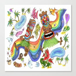 Hawaiian Tiki Play Date Canvas Print