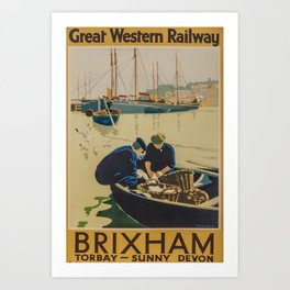 retro classic Brixham poster Art Print