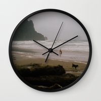 oregon Wall Clocks featuring Oregon Coast: I // Oregon by Corrie Mick
