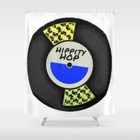 records Shower Curtains featuring Hippity Hop Records by Bunhugger Design