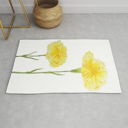 yellow carnation watercolor painting Rug