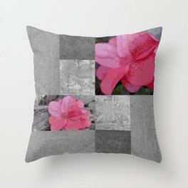 Gray Burlap and Damask with Pink Azaleas - Modern Farmhouse Throw Pillow