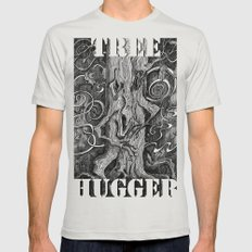 Tree Hugger Mens Fitted Tee SMALL Silver