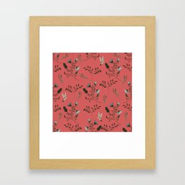 Coral Rose and Bluebells and Bluebirds Floral Pattern Flowers in Blue and Bark Brown Framed Art Print