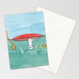 Meow the Cat Goes Kayaking Stationery Cards