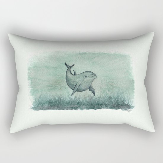 """""""Notches"""" by Amber Marine ~ Indian River Lagoon dolphin art, watercolor painting, (c) 2013 Rectangular Pillow"""