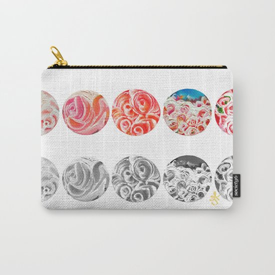 Roses Are Cream, Five Marbles and Circles of Shadow Reflection Carry-All Pouch