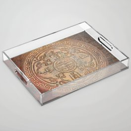 Antic Chinese Coin on Distressed Metallic Background Acrylic Tray