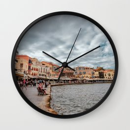 Chania Port • Travel Landscape / Greece Photography / Traveling & Lifestyle Collection Wall Clock
