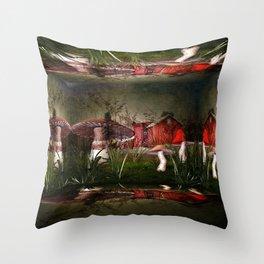 Magical Mushroom Farm Throw Pillow