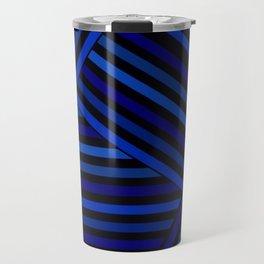 Dark blue striped patchwork Travel Mug
