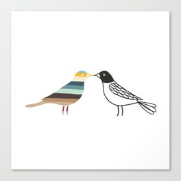 Two Birds Kissing Canvas Print