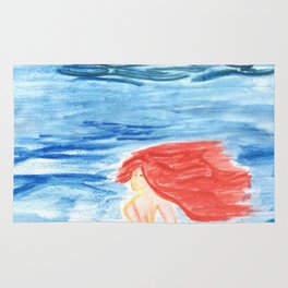 The mermaid and the pirate boat Rug