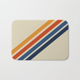 Retro 70s Stripe Colorful Rainbow Tan Classic Vintage Bath Mat