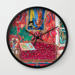 Red Interior with Lion and Tiger after Matisse Wall Clock