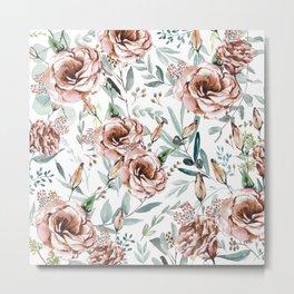 Floral Explosion - White Metal Print