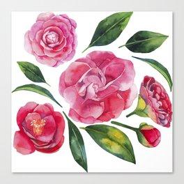 Watercolor camellia Canvas Print