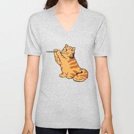 Transverse Flute Player Flutist Cat Kitten Gift Unisex V-Neck