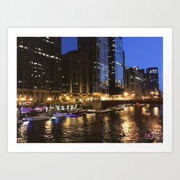 Boat Party on the Chicago River Art Print