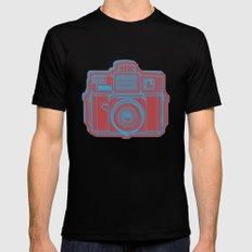 I Still Shoot Film Holga Logo - Blue & Red SMALL Black Mens Fitted Tee