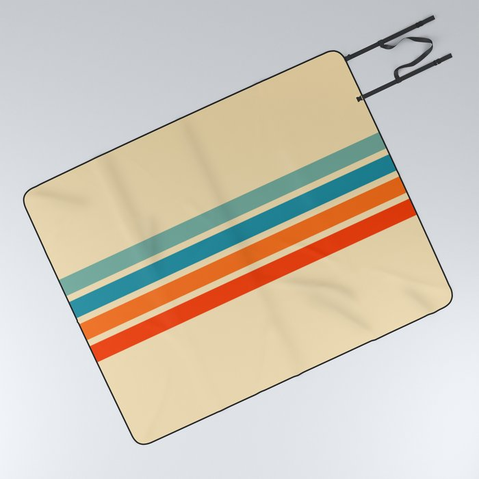 Ienao - Classic 70s Retro Stripes Picnic Blanket