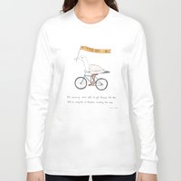 bicycles Long Sleeve T-shirts featuring seagulls on bicycles by Marc Johns